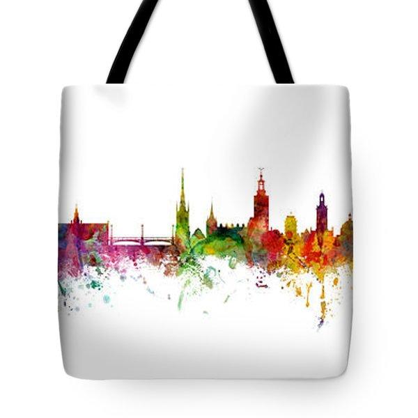 Cork, Stockholm And Gothenburg Skyline Mashup Tote Bag