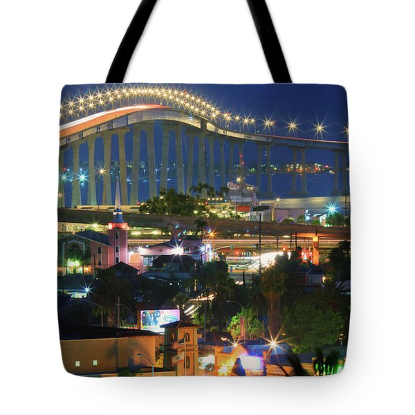 Coronado Bay Bridge Shines Brightly As An Iconic San Diego Landmark Tote Bag