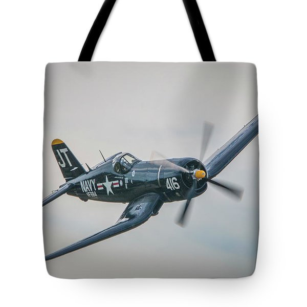 Tote Bag featuring the photograph Corsair Approach by Tom Claud