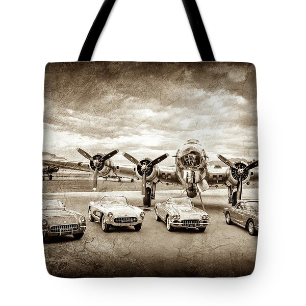 Corvettes And B17 Bomber -0027cl2 Tote Bag
