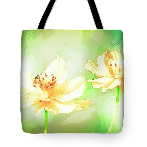Cosmos Flowers, Bud, Butterfly, Digital Painting Tote Bag