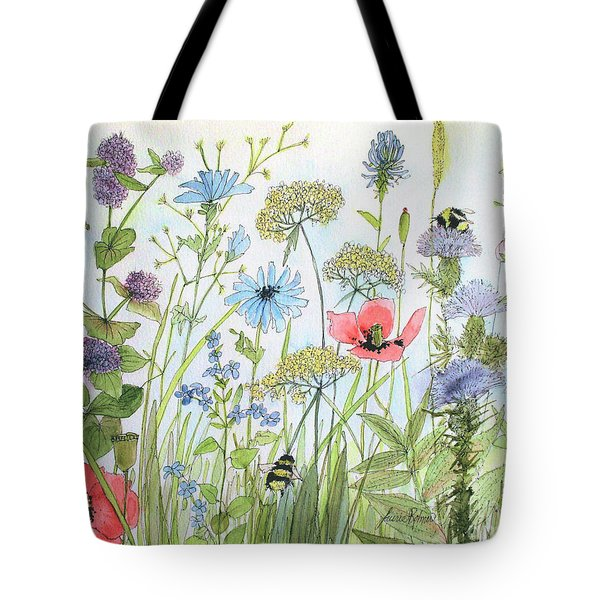 Cottage Flowers And Bees Tote Bag