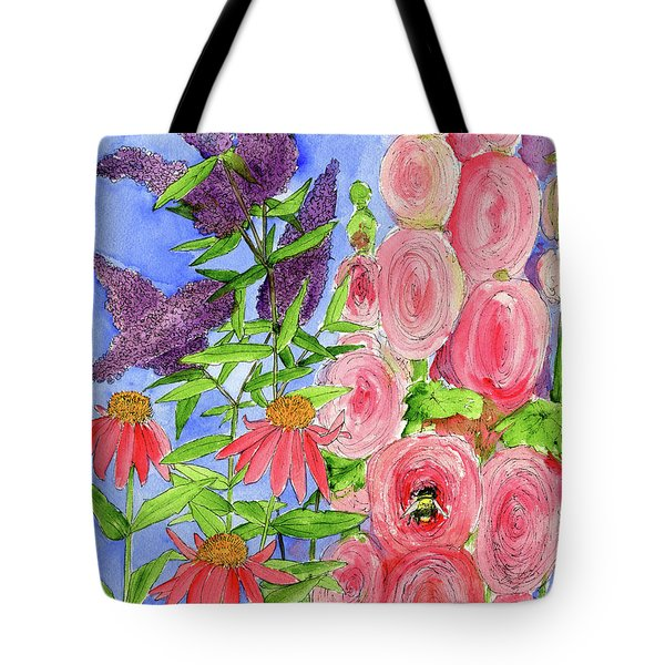 Cottage Garden Hollyhock Bees Blue Skie Tote Bag