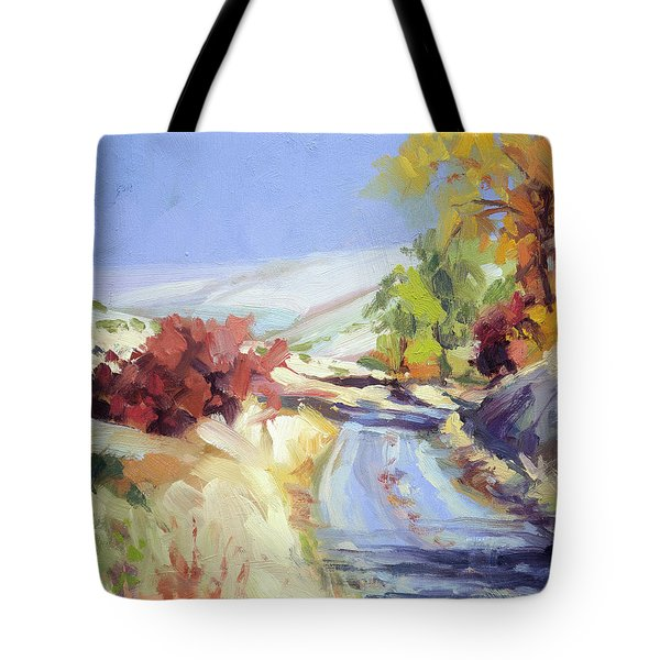 Tote Bag featuring the painting Country Blue Sky by Steve Henderson