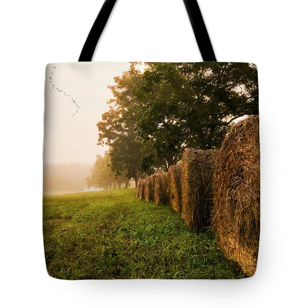 Country Morning Mist Tote Bag
