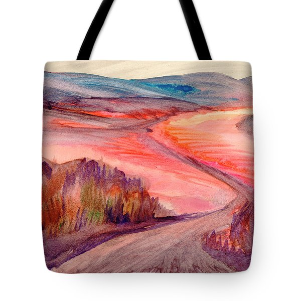 Tote Bag featuring the painting Country Road by Dobrotsvet Art