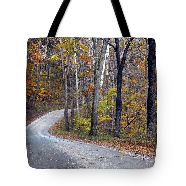 Tote Bag featuring the photograph Country Road On Fall Day by Mike Murdock