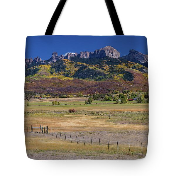 Tote Bag featuring the photograph Courthouse Mountains And Chimney Rock Peak by James BO Insogna