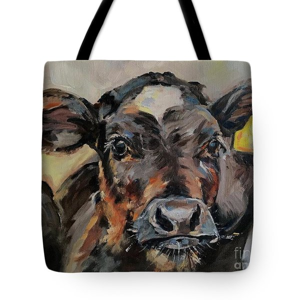 Cow In Oil Paint Tote Bag