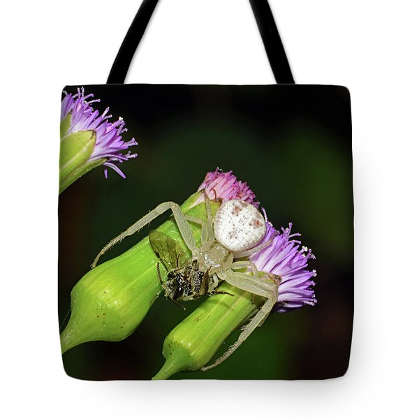 Crab Spider With Bee Tote Bag