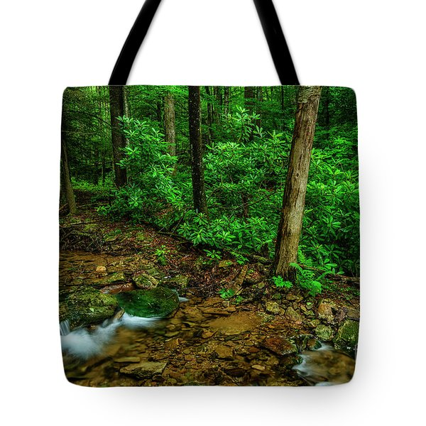 Cranberry Wilderness Stream And Rhododendron Tote Bag