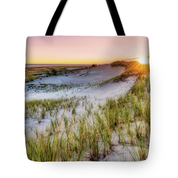 Tote Bag featuring the photograph Crane Beach, Dune Grass Sunrise  by Michael Hubley