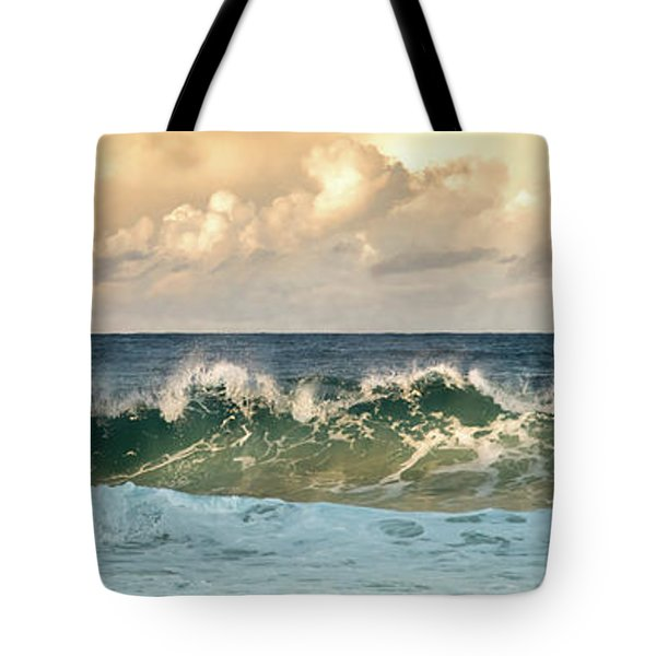 Crashing Waves And Cloudy Sky Tote Bag