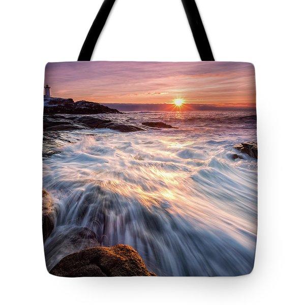 Crashing Waves At Sunrise, Nubble Light.  Tote Bag