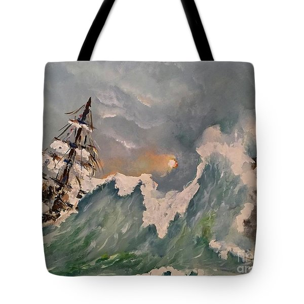 Tote Bag featuring the painting Crashing Waves by Miroslaw  Chelchowski