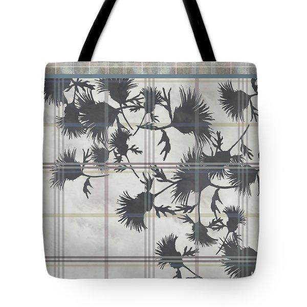 Cream Thistle Plaid Contrast Border Tote Bag