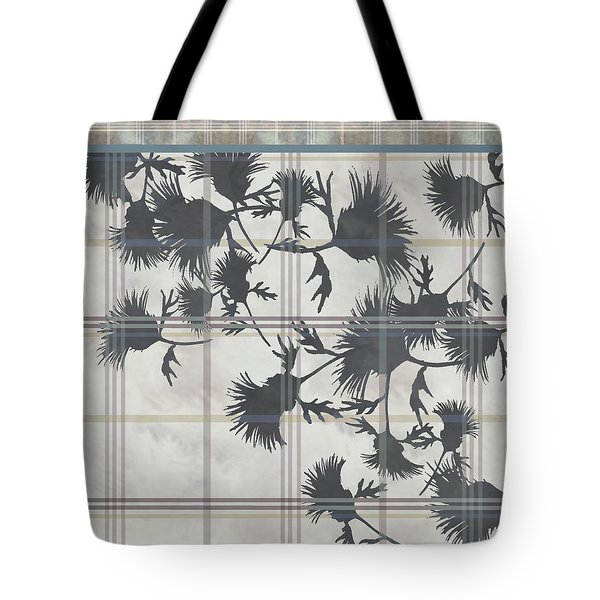 Cream Thistle Plaid Contrast Border Tote Bag