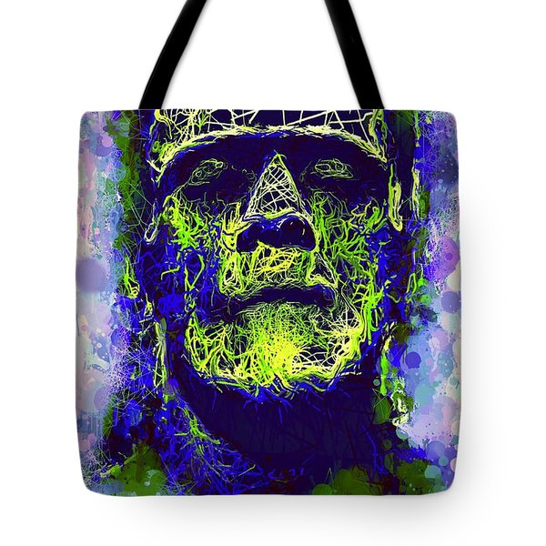 Tote Bag featuring the mixed media Frankenstein Watercolor by Al Matra