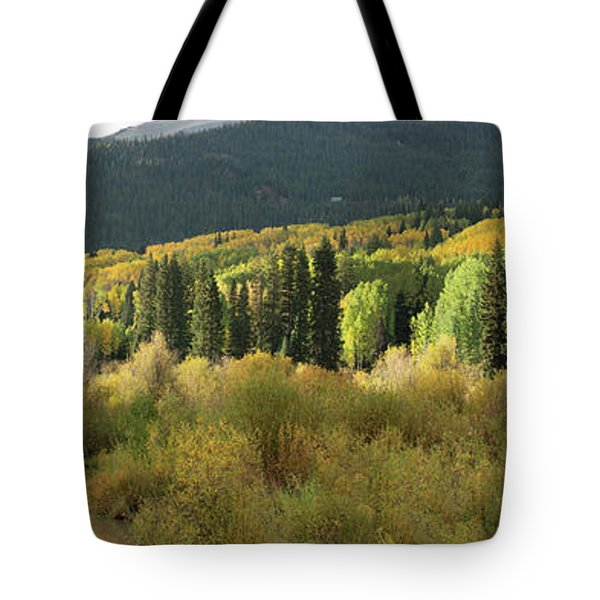 Tote Bag featuring the photograph Crested Butte Colorado Fall Colors Panorama - 1 by OLena Art Brand