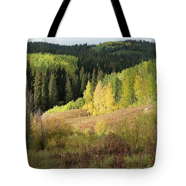 Tote Bag featuring the photograph Crested Butte Colorado Fall Colors Panorama - 2 by OLena Art Brand