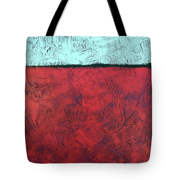 Crimson Earth Meets Pearl Sky Tote Bag