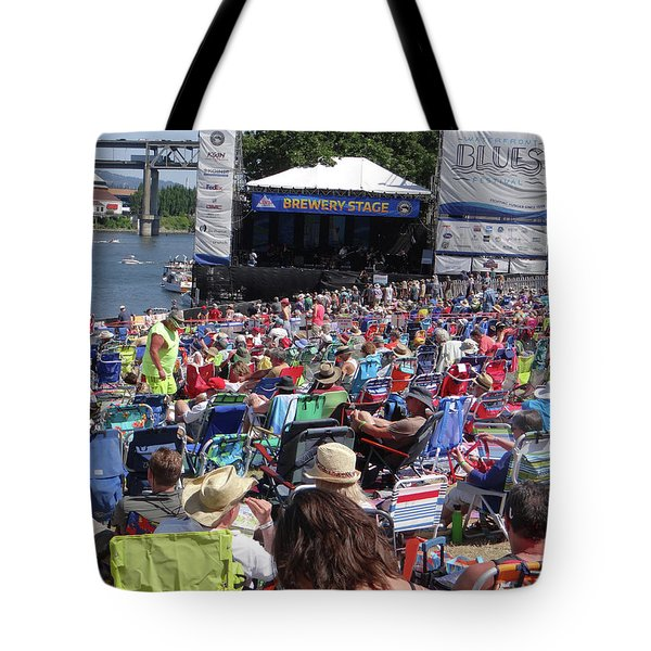 Crowd Enjoys Listening On A Sunny Day  Tote Bag
