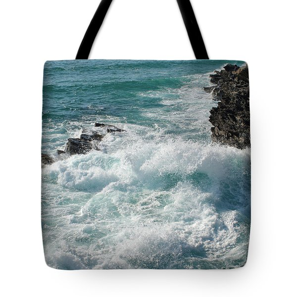 Crushing Waves In Porto Covo Tote Bag