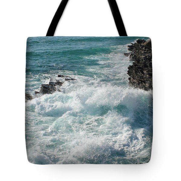 Crushing Waves In Porto Covo Tote Bag