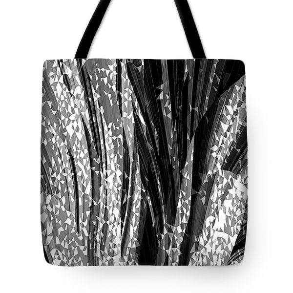 Tote Bag featuring the digital art Crystal Floral Black Opposite by David Manlove