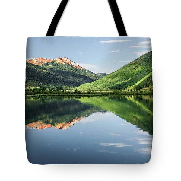 Crystal Lake Red Mountain Reflection Tote Bag