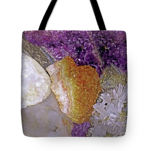 Tote Bag featuring the mixed media Crystal Stand 14  by Lynda Lehmann