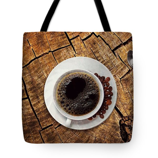 Cup Of Coffe On Wood Tote Bag