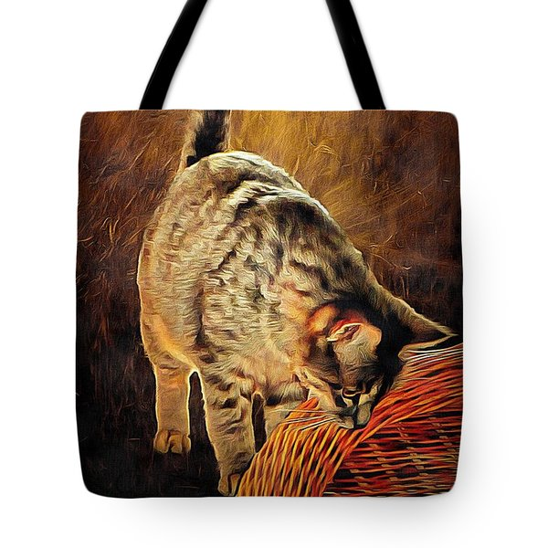 Curiosity And The Cat Tote Bag