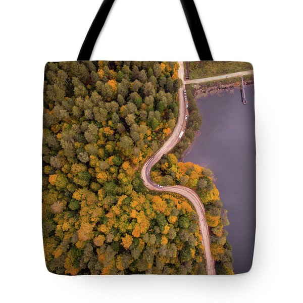 Curved Road At Lakeside Tote Bag