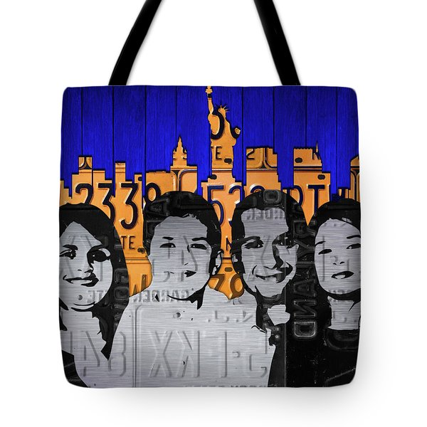 Custom Family License Plate Art Portrait On New York Skyline Tote Bag