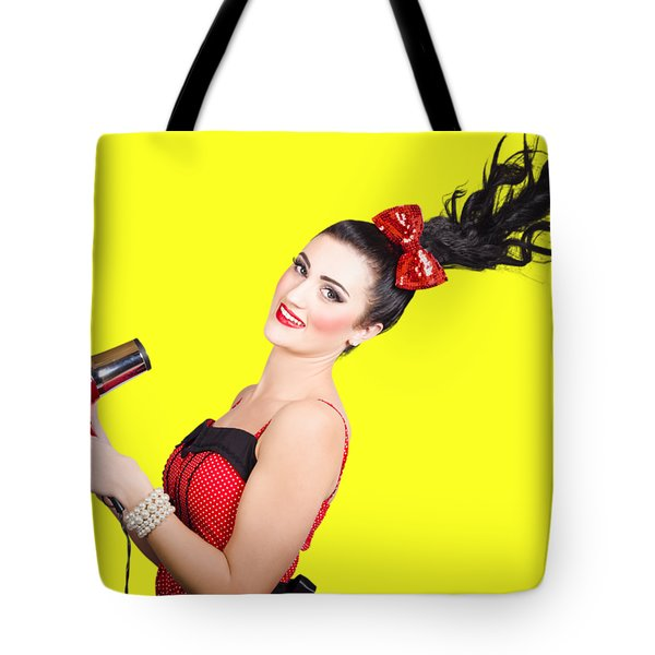 Cute Brunette Retro Woman With Hair Dryer Tote Bag
