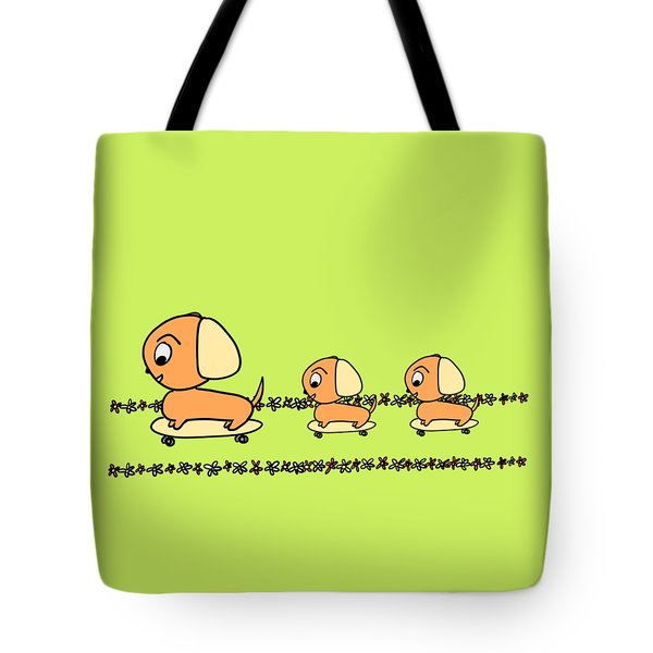 Cute Cartoon Dogs On Skateboards By The Beach Tote Bag