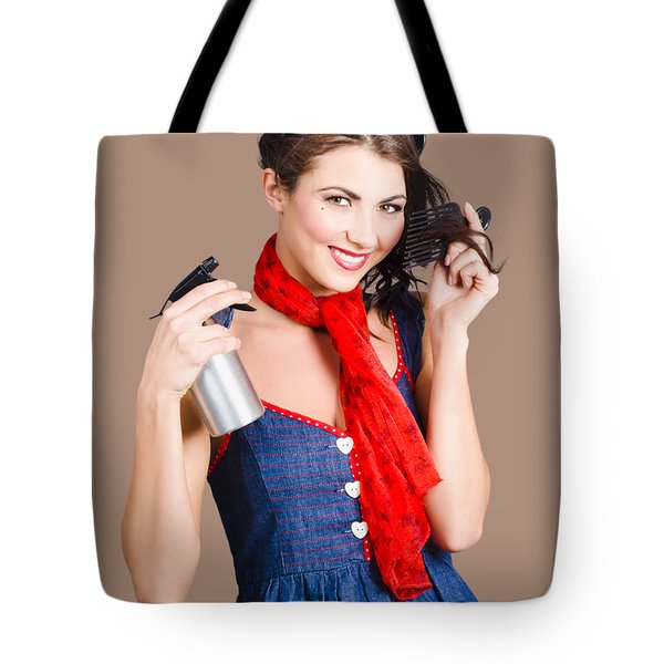 Cute Girl Model Styling A Hairdo. Pinup Your Hair Tote Bag