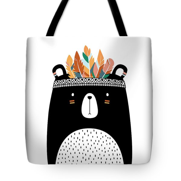 Cute Tribal Bear - Boho Chic Ethnic Nursery Art Poster Print Tote Bag