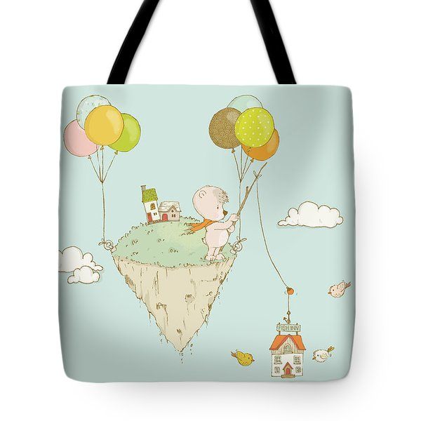 Cute Whimsical Bear Fishing In The Sky Tote Bag