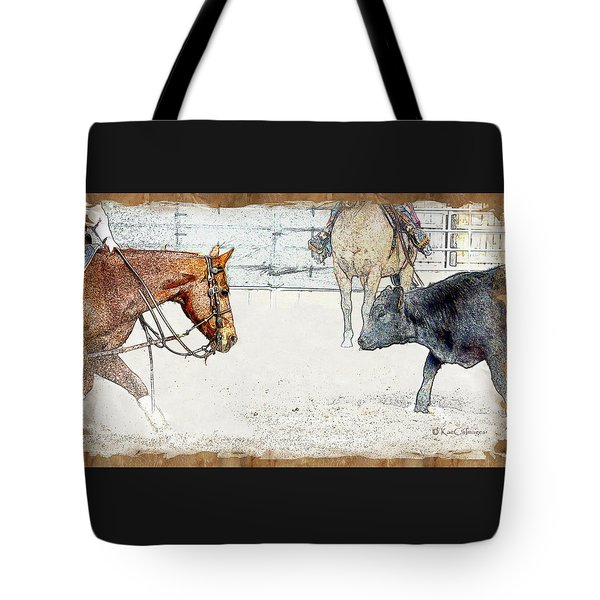 Cutting Horse At Work Tote Bag