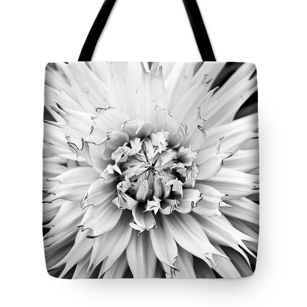 Tote Bag featuring the photograph Dahlia Normandie Frills Monochrome by Tim Gainey