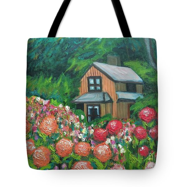 Dahlias In The Woods Tote Bag
