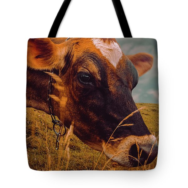 Dairy Cow Eating Grass Tote Bag
