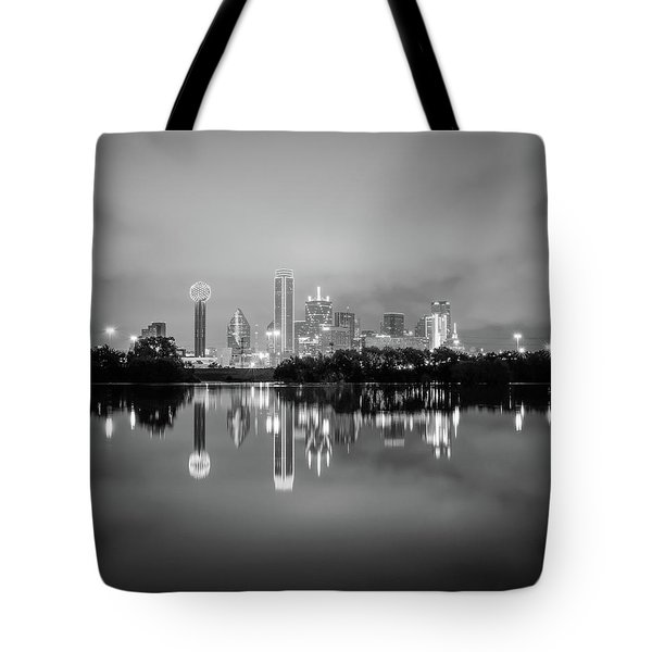 Dallas Cityscape Reflections Black And White Tote Bag