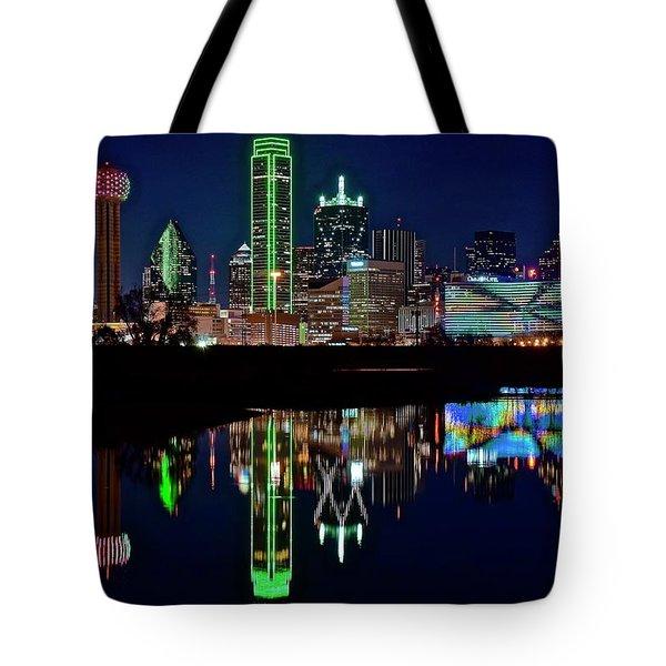 Dallas Reflecting At Night Tote Bag