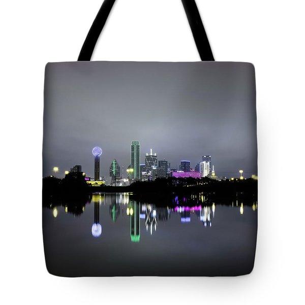 Dallas Texas Cityscape River Reflection Tote Bag