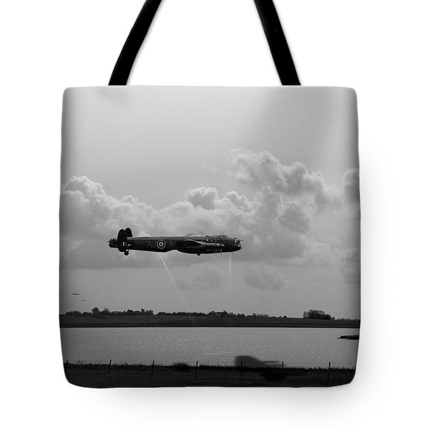 Tote Bag featuring the photograph Dambusters Lancasters At Abberton Bw Version by Gary Eason