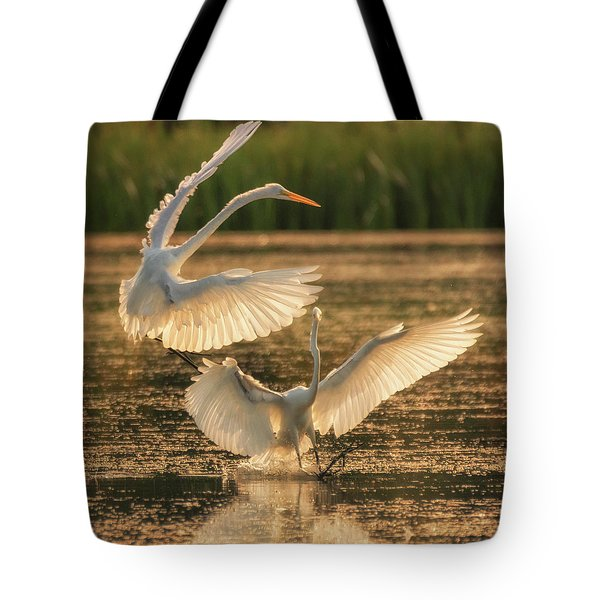 Dancing Egrets  Tote Bag