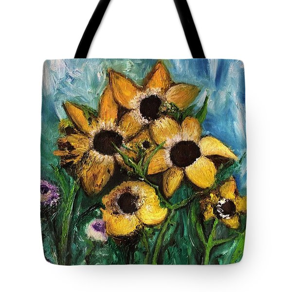 Tote Bag featuring the painting Dancing Flowers by Laurie Lundquist